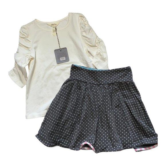 Matilda Jane Sz 6 White Ruched Sleeve Shirt & Gray